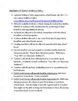 Highlights of District Wellness Policy