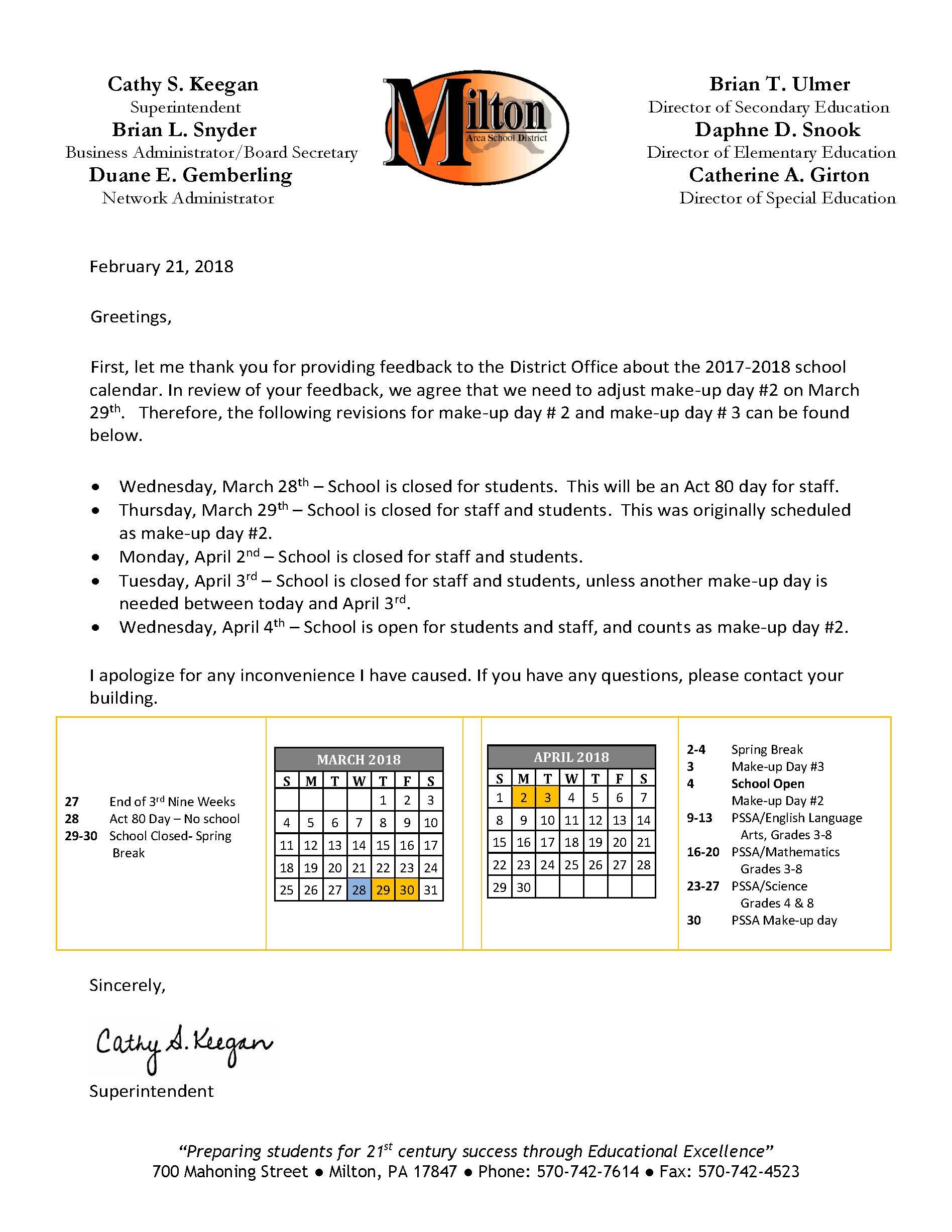 School Calendar revision letter