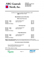 NRG Controls Standard Billing Rates