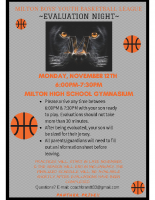 Milton Youth basketball evaluation flyer